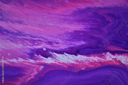 Poster Violet Pink and lilac abstract background with mixed paint. Acrylic texture with marble pattern. Wallpaper. Color mixing. Contemporary art, design, fashion.