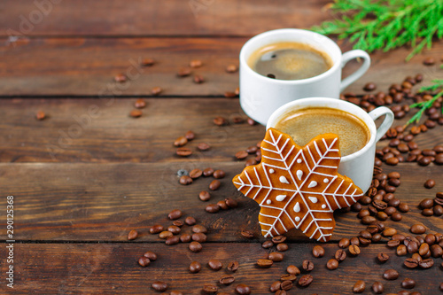 Foto op Aluminium Cafe gingerbread. gifts and holiday, happy New Year. festive background. food background. top view