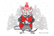 Christmas Mouse Vector Hand Drawn Illustration. New Year Card.
