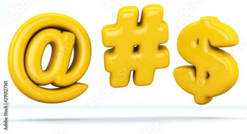 Photo arroba sign, hashtag sign, dollar sign, glossy yellow