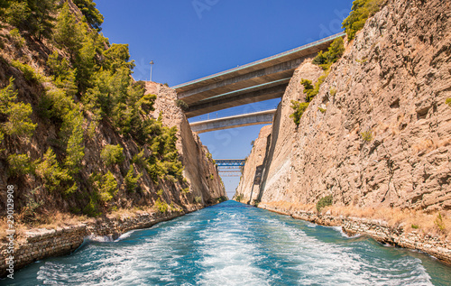Valokuva Passing through the Corinth Canal by yacht, Greece