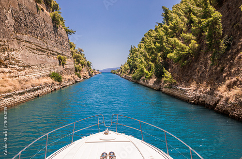 Passing through the Corinth Canal by yacht, Greece Canvas-taulu