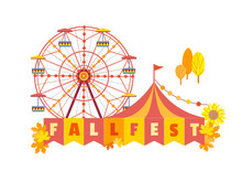 Hand Drawn Fall Festival Flat Color Vector Poster