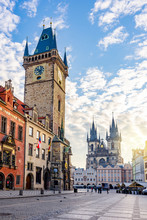 City Hall With Astronomical Clock And Old Town Square In Prague, Czech Republic