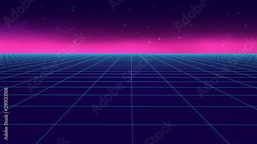 Poster Violet Vector perspective grid in retro style. Detailed lines on dark background.