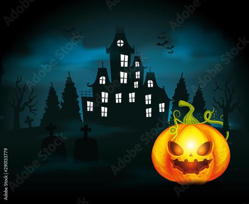 Cadres-photo bureau Echelle de hauteur haunted castle with pumpkin in scene halloween