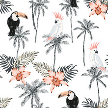 Parrots, Toucans, Palm Tree Silhouette, Pink Orchid Flower, Leaves, White Background. Vector Seamless Pattern. Tropical Illustration. Exotic Plants, Birds. Summer Beach Design. Paradise Nature