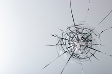 Cracked Glass On A White Background Texture