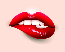 Sexy Red Lips Isolated On Nude Background. Bite Lip. 3D Design. Vector Illustration.