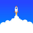 Flat design business startup launch concept, rocket icon.