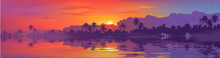 Colorful Tropical Sunset In Palm Trees Forest And Calm Water Reflection. Vector Ocean Beach Landscape Illustration For Horizontal Banner