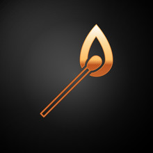 Gold Burning Match With Fire Icon Isolated On Black Background. Match With Fire. Matches Sign. Vector Illustration