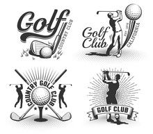 Golf Logos With Clubs, Balls And Golfers. Vintage Country Golf Club Emblems. Vector Badge In Retro Style.