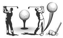 Golf Player In Retro Style. Golf Club With A Ball. Vector Illustration.