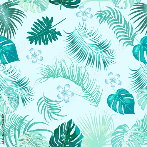 mata magnetyczna Vector tropical seamless pattern on blue background