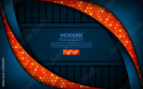 Valokuva  Modern tech blue combine with orange background