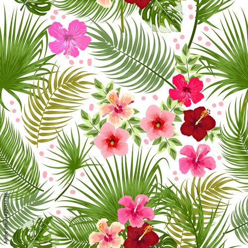 Fototapeten Künstlich Vector tropical jungle seamless pattern with palm tree leaves