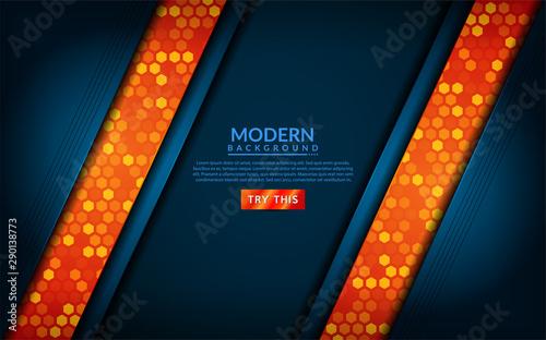 Valokuvatapetti Modern tech blue combine with orange background