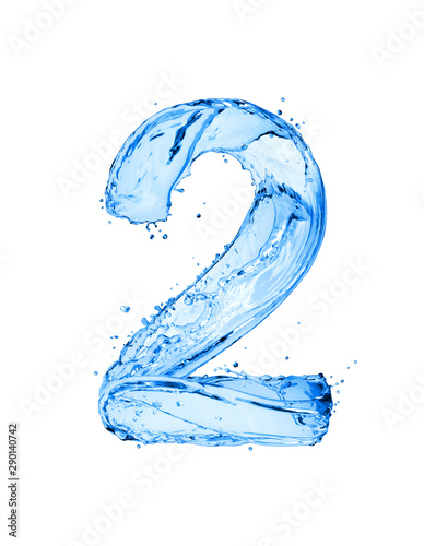 Fototapeta Number 2 made of water splashes, isolated on a white background obraz