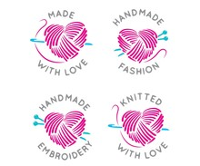 Made And Knitted With Love, Vector Set Of Logo Design Templates In Simple Linear Style - Handmade Fashion And Crafts Badges - Emblems Handmade Embroidery,