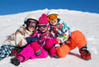 Leinwandbild Motiv kids in alpin ski resort