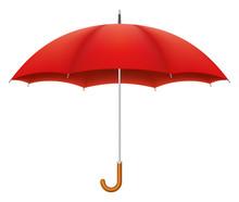 Red Umbrella On White Backgrou...
