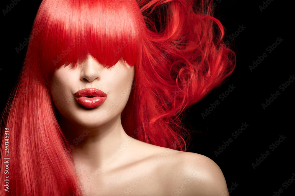 Fototapeta Sensual sexy beauty portrait of a red haired young woman with a healthy long hair