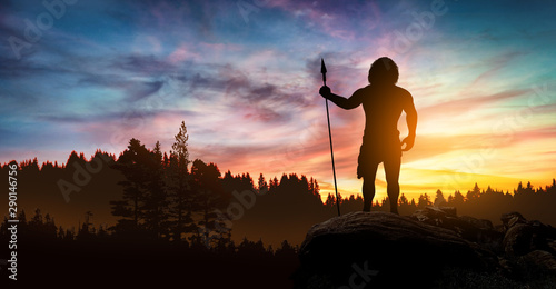 Fotografie, Obraz  Neanderthal man with a spear in hand