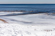 view of the chesapeake bay from a snowy beach in southern maryland calvert county chesapeake beach