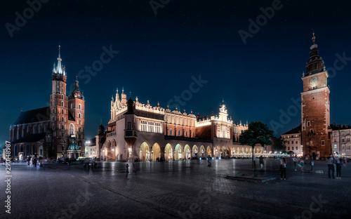 Cracow by night - the Cloth hall and the Mariacki and Town hall Tower, in Poland, Europe (Krakow , Kraków)