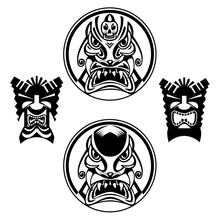 Hand Drawn Totem Face, Statue, Idol Polynesian Symbol Set. Ancient Tribal,eps 10
