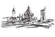 Rysynek ręcznie rysowany. Panorama Lipska w Niemczech