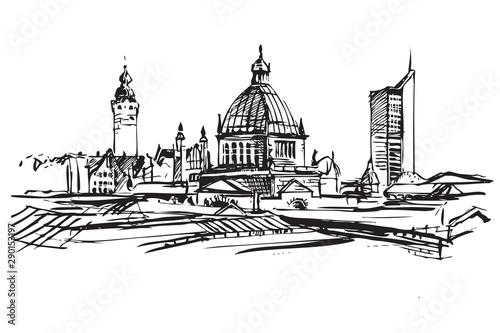 Fototapeta Rysynek ręcznie rysowany. Panorama Lipska w Niemczech obraz