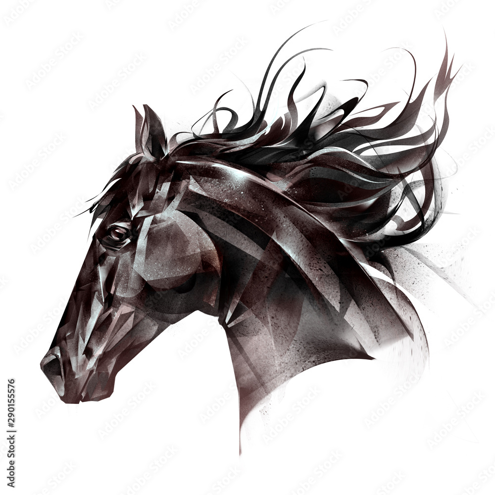 Fototapety, obrazy: drawn portrait of a horse face on a white background