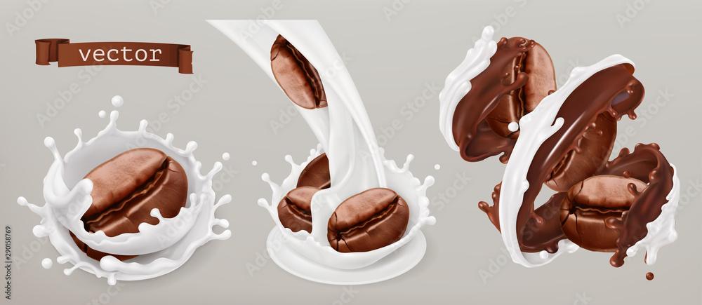 Fototapeta Coffee beans and milk splashes. 3d vector realistic set