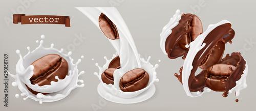 Foto auf Leinwand Texturen Coffee beans and milk splashes. 3d vector realistic set