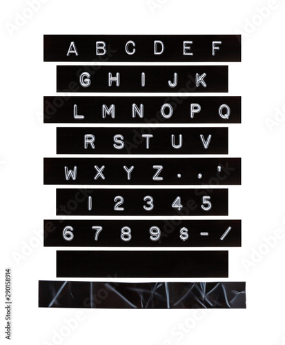 Vászonkép  Embossed Alphabet Letter Tape