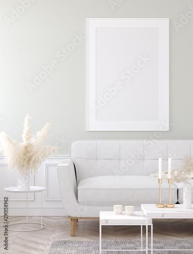 Fotografie, Obraz  Mock up poster frame in home interior background, Modern style living room, 3D r