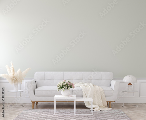 Modern style living room, home interior in pastel colors, 3D render