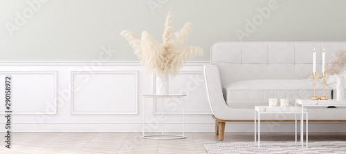 Fototapety, obrazy: Modern style living room, home interior in pastel colors, 3D render