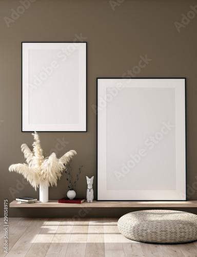 Mock up poster frame in interior background, Scandinavian home, 3d render