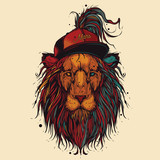 Unique, high quality vector illustration. Hipster lion in a baseball cap