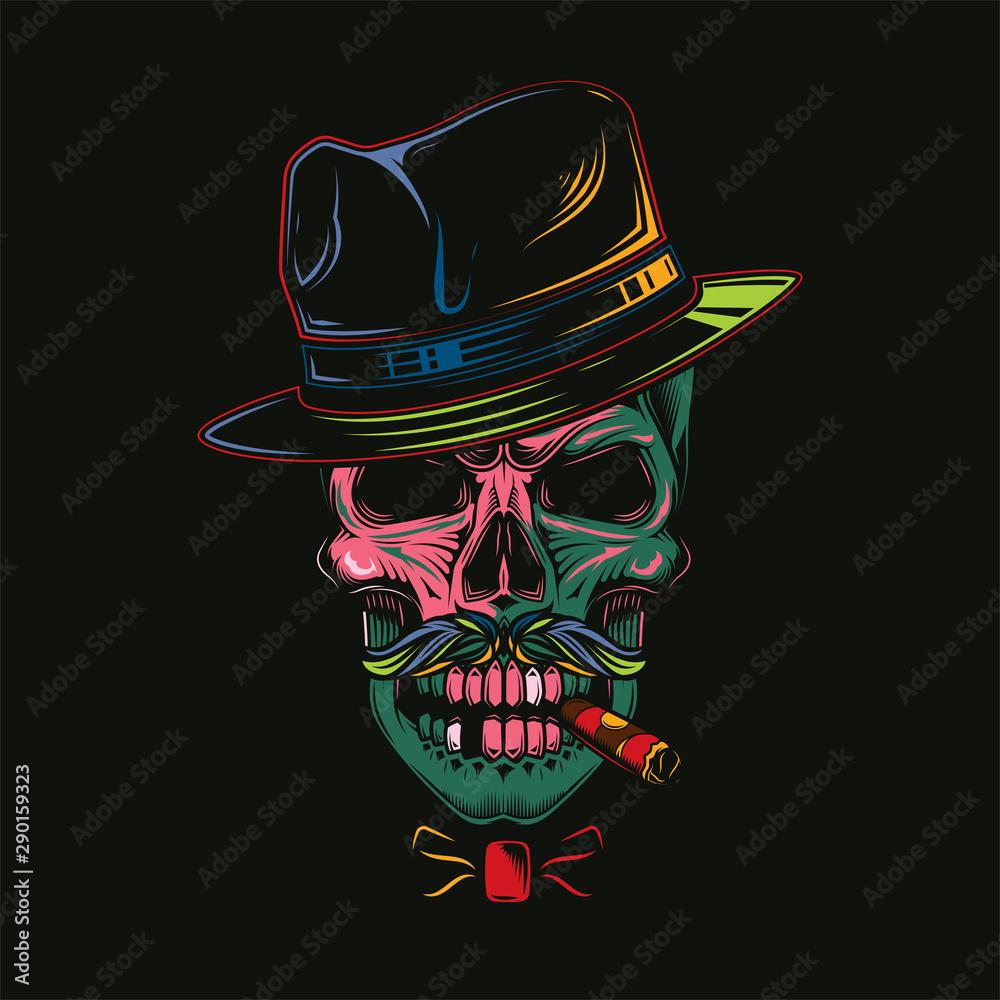 Fototapeta Original vector illustration in comic style, skull gangster in hat and cigar in teeth