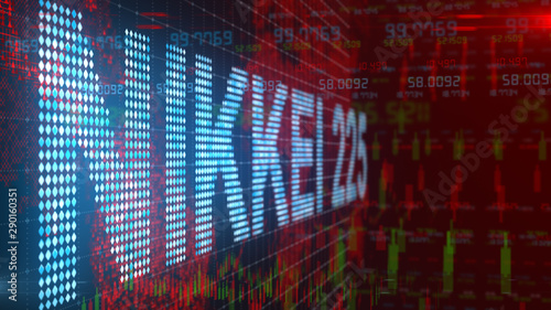 Fototapeta  Nikkei 225 is a stock market index for the Tokyo Stock Exchange - Conceptual 3D