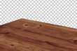canvas print picture - Perspective view of wood or wooden table top isolated on checkered background including clipping path