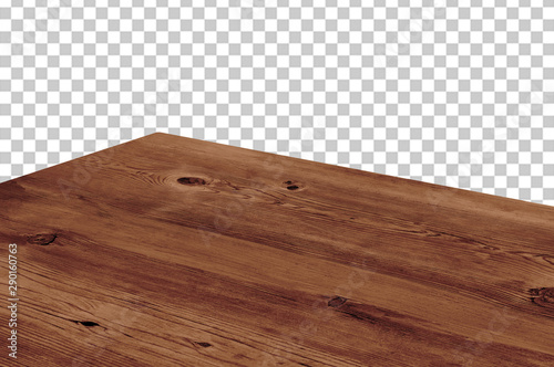 Obraz Perspective view of wood or wooden table top isolated on checkered background including clipping path - fototapety do salonu