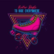 Vintage Roller Skates In Neon Style. Original Vector Illustration.
