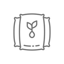 Vector Bag With Seeds, Harvest Line Icon.