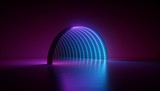 Fototapeta Perspektywa 3d - abstract minimal ultraviolet background, 3d render of geometric shape, round arch, tunnel, corridor, blue led, neon light, stage design, floor reflection