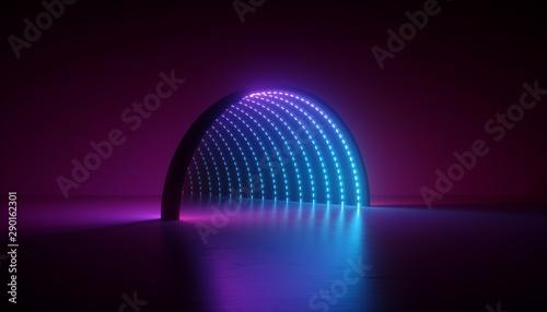Fotografie, Tablou  abstract minimal ultraviolet background, 3d render of geometric shape, round arc